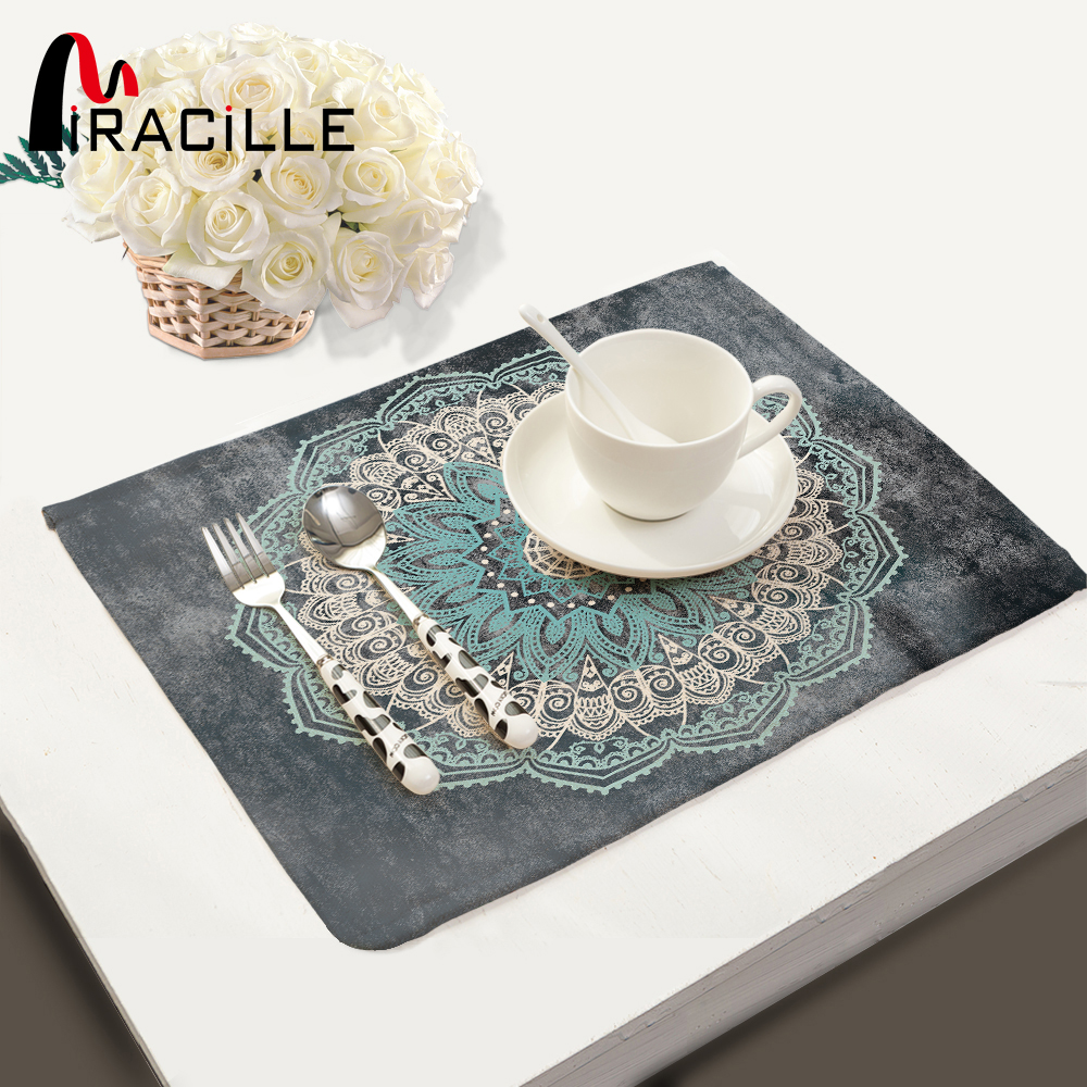 Miracille Mandalas Pattern Fashion Table Placemats for Table Set Cotton Linen Home Accessories Kitchen Pad Coffee