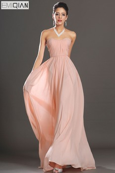 FreeShipping New Elegant Strapless Pink Chiffon Evening Dress
