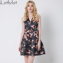 Summer womens dresses 2016 summer plus size fashion sexy floral printed short evening party dress backless female clothing