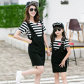 Black & White Striped T-shirt & Suspender Dress Set 2016 Family Look Girl and Mother Dress Mother Daughter Outfits