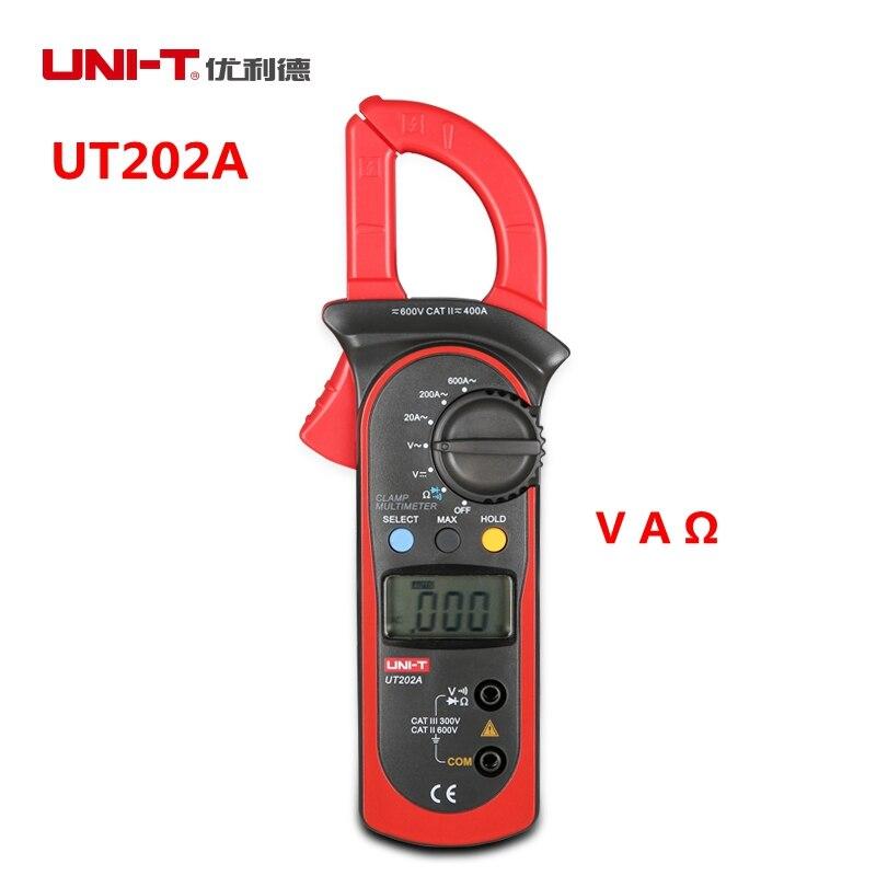 UNI-T UT201 UT202 UT202A Digital Multimeter 600A 600V Clamp Meter Manual Range with Voltmeter Ammeter Resistance meter ulyde uni t ut202a ac clamp meter 600a