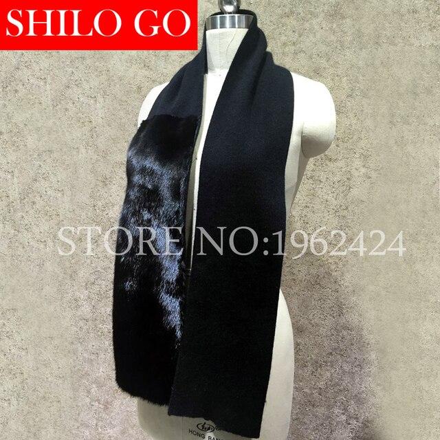 Бесплатная доставка 2016 новая мода осень-зима мужчины высокого качества роскошный черный прилив норки сращивание кашемир трикотажные длинный шарф шерсти
