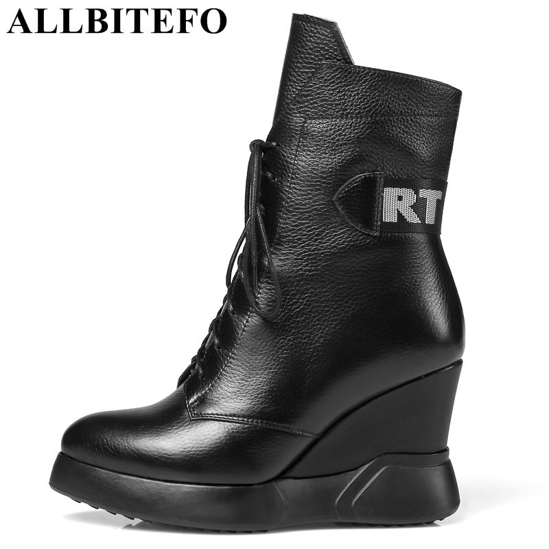 ALLBITEFO size:34-42 genuine leather wedges heel platform women boots fashion high heels ankle boots girls motorcycle boots xiangban handmade vintage motorcycle boots women high heels platform boots square heel genuine leather