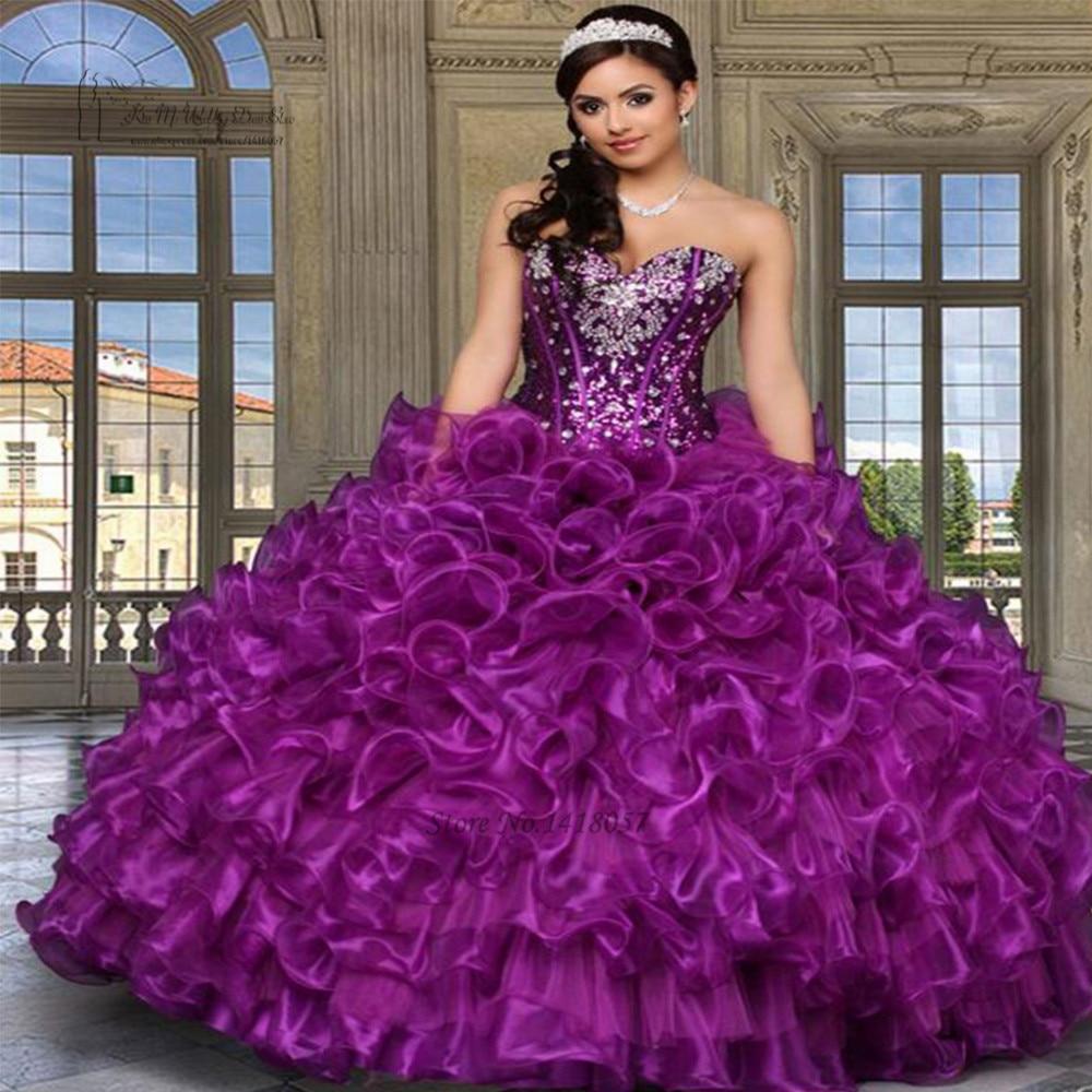 Vestidos de 15 anos Purple Sequin Crystals Cheap Quinceanera Gowns Dresses Ruffles Plus Size Sweet 16