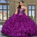 Vestidos de 15 anos roxo lantejoula cristais barato Quinceanera Vestidos Vestidos Ruffles Plus Size doce 16 vestido com jaqueta de Organza