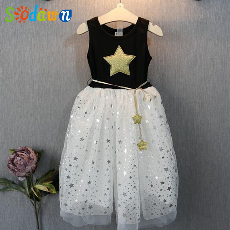 Sodawn Summer New Style Girls Wearing Five-Pointed Star Princess Star Dress Fashion Girls Clothes Girls Dress Kids clothing