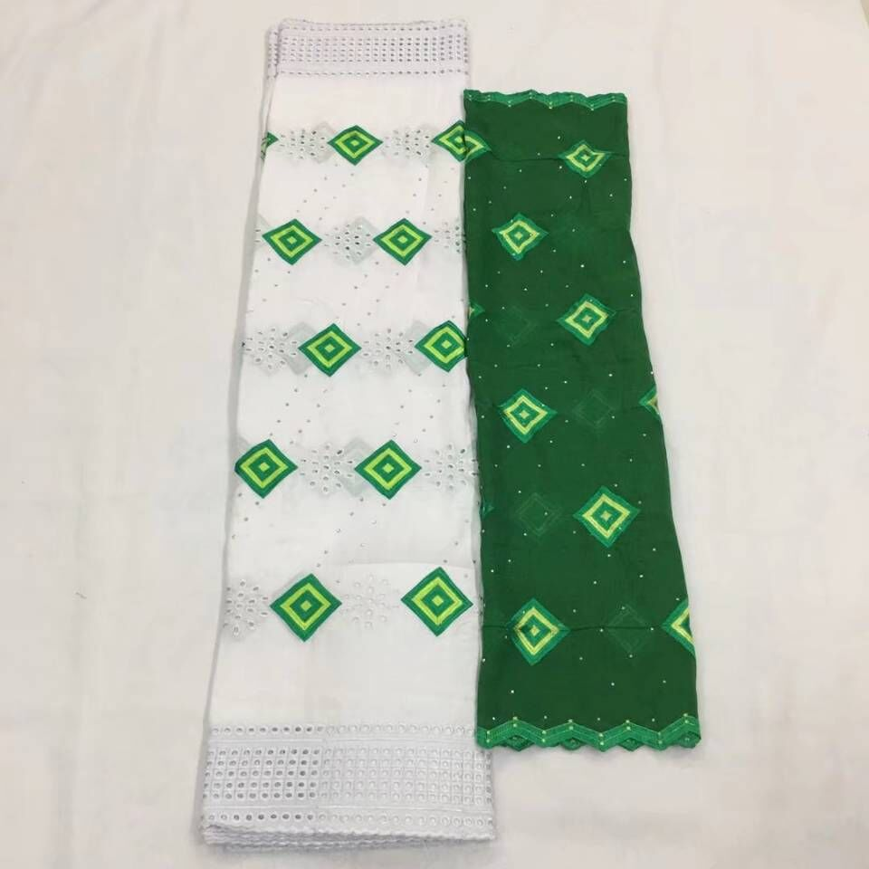 5Yards Fashionable white african mesh cotton fabric embroidery and 2Yards green french net lace set for