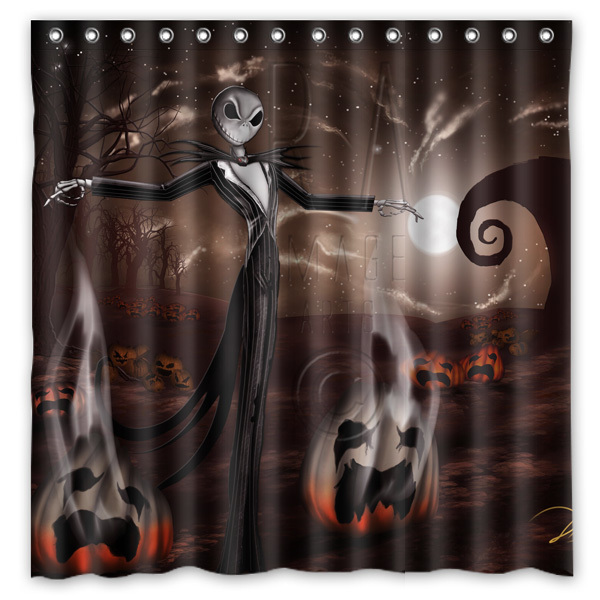 Polyester Fabric Bath Shower Curtain Jack Skellington Waterproof Bathroom Decorative Curtains 180x180cm With White Hooks