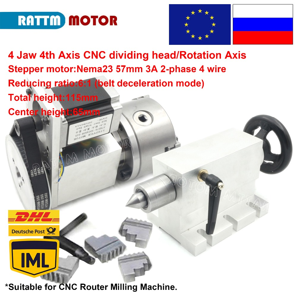4 jaw chuck 4th Axis K12 100mm CNC dividing head Rotation Axis Tailstock for Mini CNC