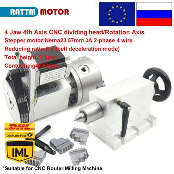 4 jaw chuck 4th Axis K12-100mm CNC dividing head/Rotation Axis & Tailstock for Mini CNC router engraving - DISCOUNT ITEM  5% OFF All Category