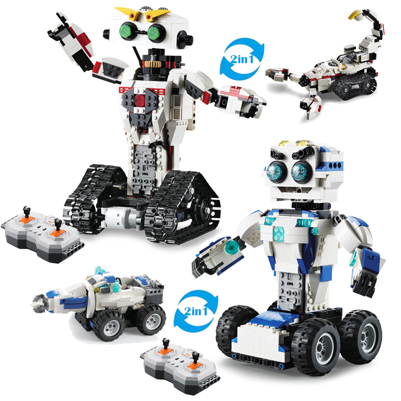 Global Drone Rc Car Robot Mini Building Blocks 2 in 1 Deformation 2.4G Remote Control RC Tanks Model Toys Gift for Children Boys 2 in 1 transformable assembly building blocks car for children puzzling toys