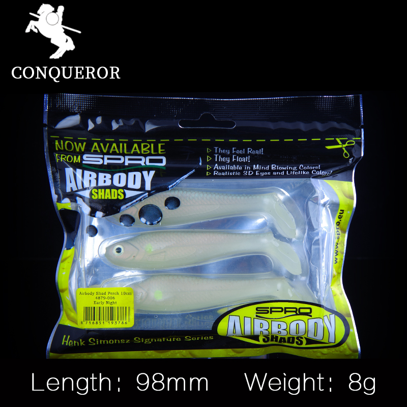 Conqueror 3pcs 8g/9.8cm Handmade Soft Bait Fish Fishing Lure Shad Manual Silicone Bass Minnow Bait Swimbaits Plastic Lure Pasca 10pcs 7 5cm soft lure silicone tiddler bait fluke fish fishing saltwater minnow spoon jigs fishing hooks