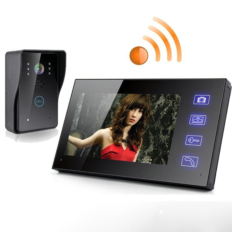 7 Wireless monitor speakerphone intercom color video door phone doorbell access control system for home/apartment 806MJW11 300m wireless 7 inch video door phone wireless intercom system access control