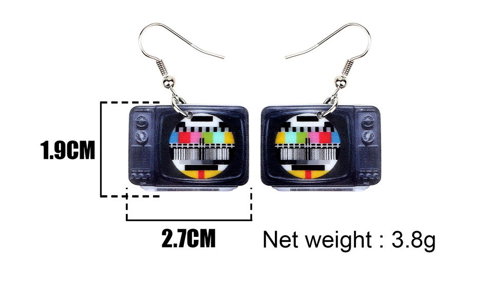 WEVENI Statement Acrylic Classical Television Earrings Drop Dangle Big Long Fashion Jewelry For Women Girls Gift Accessories 5