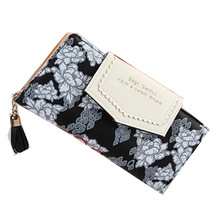 New Vintage Sakura Wallets 6 Color Long Wristband Clutch Elegant Women Purse Phone Bag Credit Card Holder Pack Coin