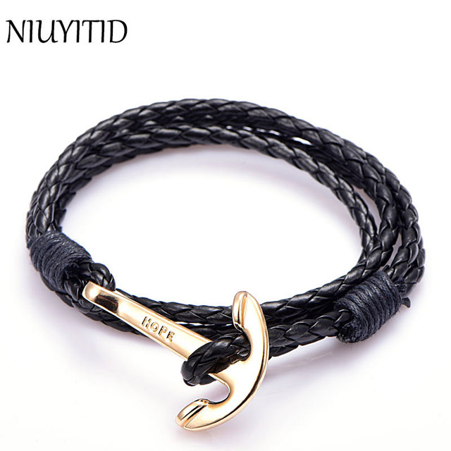 Niuyitid Mens Bracelets Leather Wristband Jewelry 40cm Length Brown Pu Rope Silver Anchor Man Charm Braclet