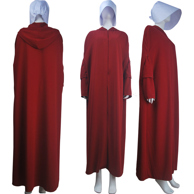 Women's Girls The Handmaid's Tale Offred Handmaid Cosplay Costume Robe Cape Halloween Carnival Make-up Costume Unisex