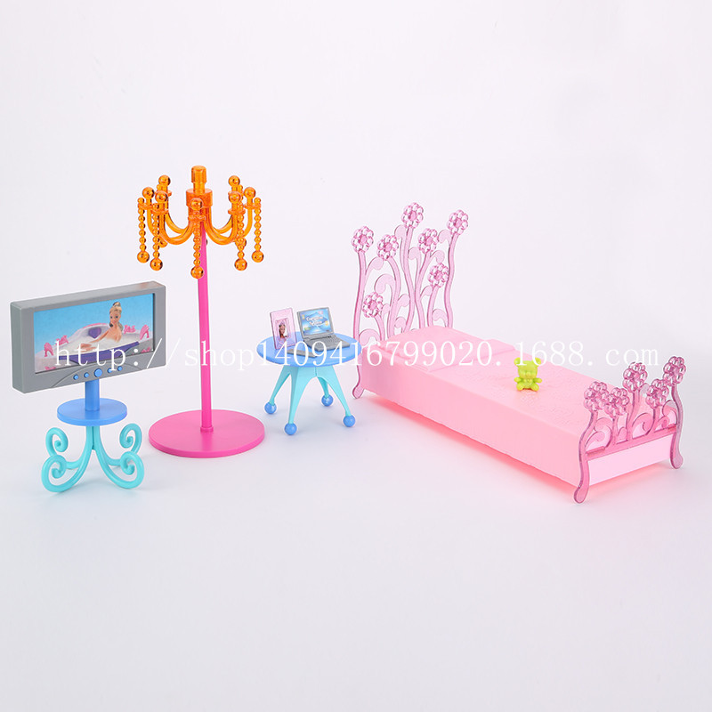 ФОТО Mini Simulation case for barbie furniture sets accessories princess bed bed TV Girl Toys and Gifts