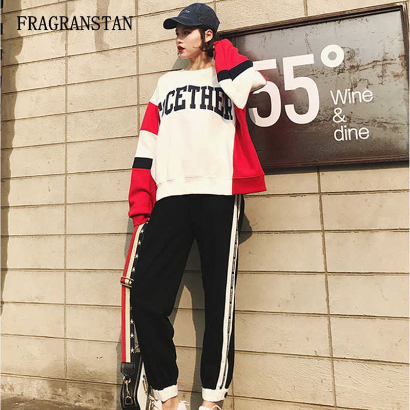 Female Spring Autumn Fashion Harajuku Two Piece Set Ladies O-Neck Letter Tops+Elastic Waist Striped Long Pants Loose Suits JQ873