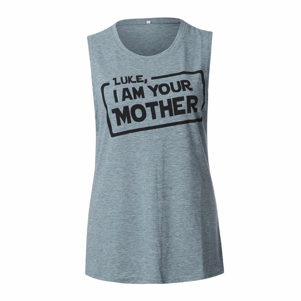 Camiseta sin mangas con estampado de letras para mujer de 2019 verano TT