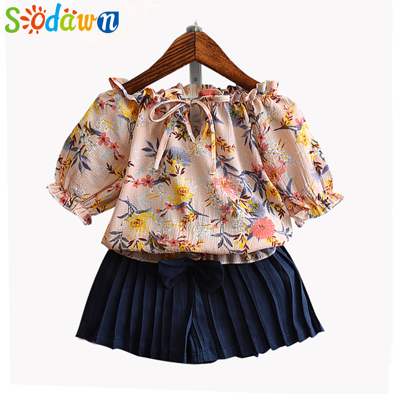 Sodawn 2018 Summer Girls Clothes Set Chiffon Print Design T-shirt Set Fashion Baby Girl Clothes Kids Suit 3-7y Children Clohting 2 7y hot new 2016 summer girls boys lion print children clothing set baby clothes short sleeve t shirt pants kids sport suit