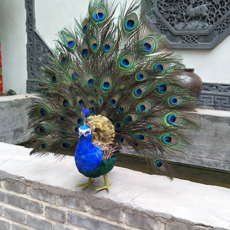 large 65x60cm simulation colourful feathers peacock bird handicraft prop,home garden decoration gift p0391