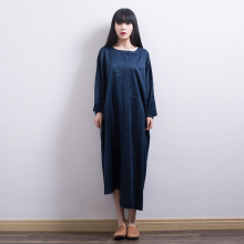 2016 Women's Autumn Winter Loose Robes Faux suede Dress Ladies Literary Plus Size Elegant Round Neck oversized Dress