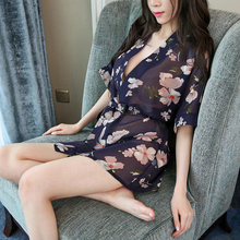 Mini Robes Woman Sexy Female Bathrobes Home Wear Sleep For Chiffon Silk Summer Floral Thin Hot Sale One Size BANNIROU