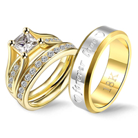 Gothic Gold Vintage Stainless Steel Engagement Rings Couple Cubic Zirconia Ring Set for Girl Forever Love Statement Wedding Band