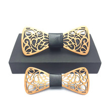 Father and son set Wood Bow Tie Mens Wooden Ties Gravatas Corbatas Business Butterfly Cravat Party For Men