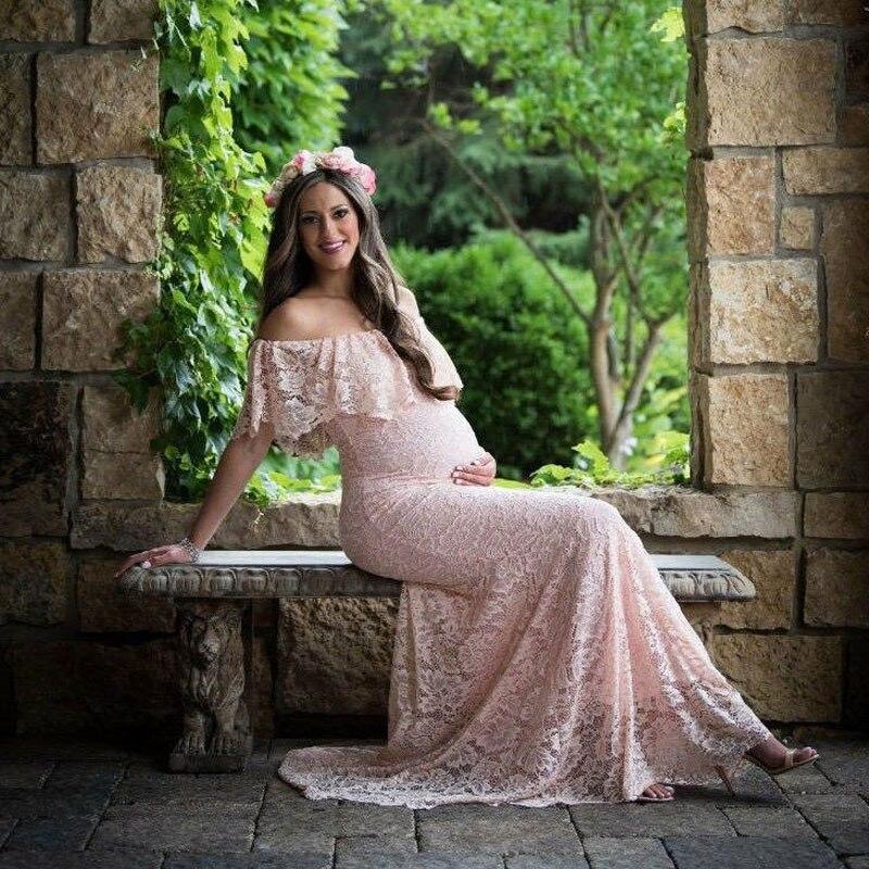 2019 nouveau été Sexy robes de maternité pour Photo Shoot grossesse photographie accessoires dentelle Maxi robe de soirée de mariage robe enceinte