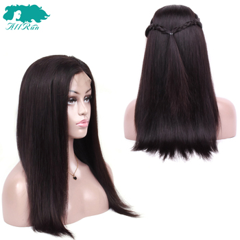 Straight Lace Front Human Hair Wigs Brazilian Hair Weave 360 Lace Frontal Wig Pre Plucked Natural Hairline Free Part Non Remy 2