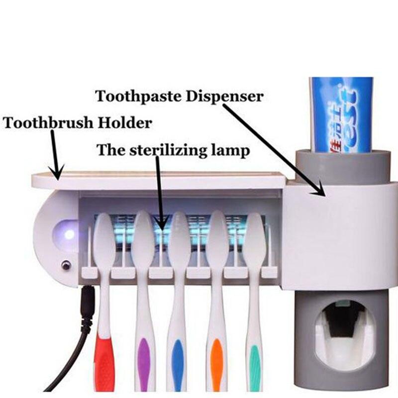 UV Light Automatic Toothpaste Dispense Sterilizer Storage 5 Position Family Toothbrush Holder Wall Mount Rack Bath set DA