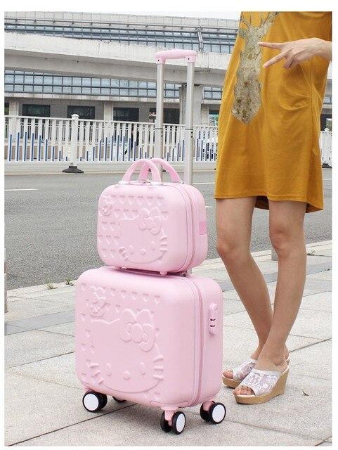 18 Дюйм(ов) Hello Kitty леди багаж чемодан тележка сумка сумка тележка колеса женщины камера колеса коробка путешествия abs камера