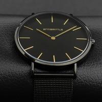 Black Quartz Luxury Brand Watch Men Super Ultra Thin Leather Stainless Steel Magnet Strap Gold Hand Women Waterproof Antibrittle