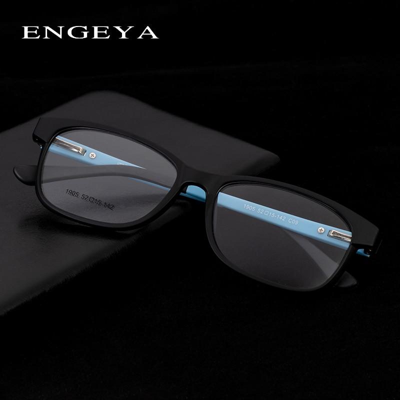 TR90 Men Glasses  Optical Spectacle Frame Retro Square Transparent Zero Power Decorative Clear Glasses Frame For Man #1905