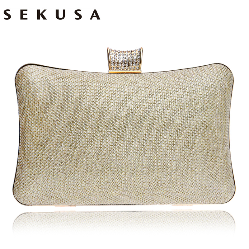 SEKUSA Messenger Women Evening Bags Chain Shoulder Day Clutches Purse Evening Bags Sequined Messenger Lady Evening Bag sekusa women evening bags chain shoulder messenger bag beaded rhinestones handbags with handle day clutches for wedding