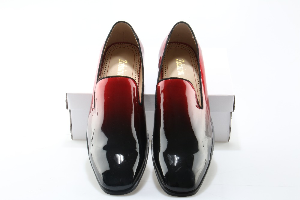 Hombre Charol Negros Zapatos Mocasines De Boda Zobairou Para 8vwyNmnO0