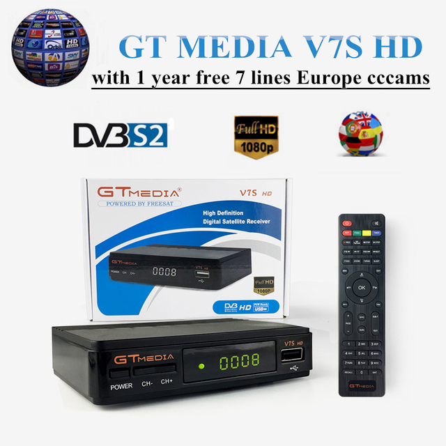 New GT MEDIA V7S HD DVB-S2 FREE SAT V7 HD Receptor Satellite TV Receiver+free 1 year Europe cccams/lines Spain Satellite Decoder