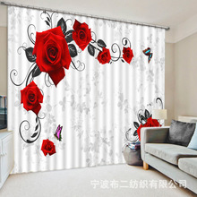Beautiful flowers 3D Rose Blackout Curtains For Living room Bedding room Decor Tapestry Wall Carpet Drapes Cotinas