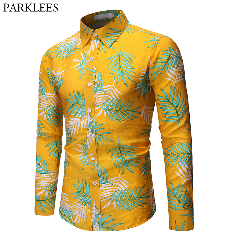 Nicelly Mens Long Sleeve Plus Size Stand Collar Casual Floral Embroidery Shirt