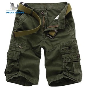 2019 New Brand Men Solid Color Cargo Shorts Plus Size Multi-pocket Overalls Casual Baggy Short Trousers Male ( No belt