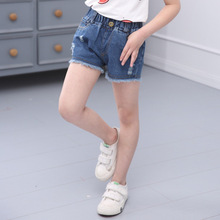 Hot Sale 4 Color Hole Jeans Shorts for Girls 2-16 years Kids Girls Casual Shorts 2017 NEW Summer Children's Girls Denim Shorts
