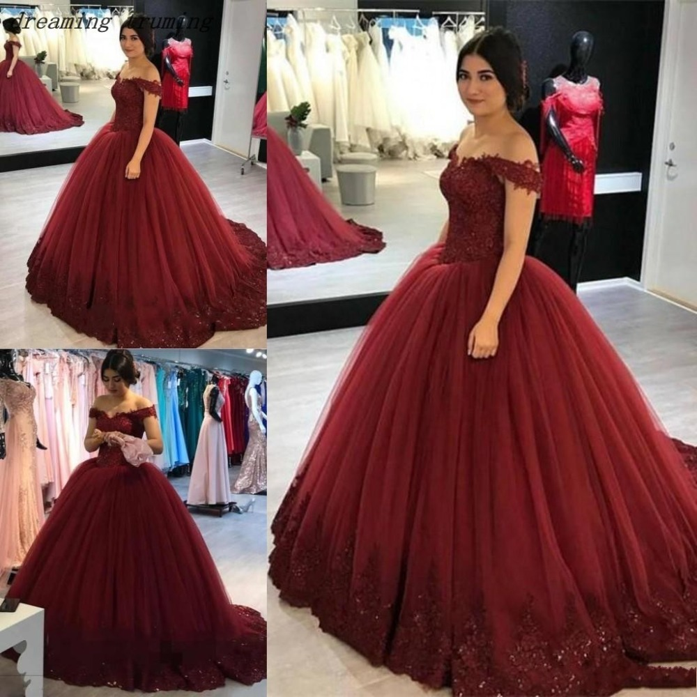 9a91bb069028 vestido de 15 anos de debutante Burgundy Quinceanera Dresses Lace Appliques  Tulle Puffy Girls Birthday party Ball Gown Sweet 16-in Quinceanera Dresses  from ...