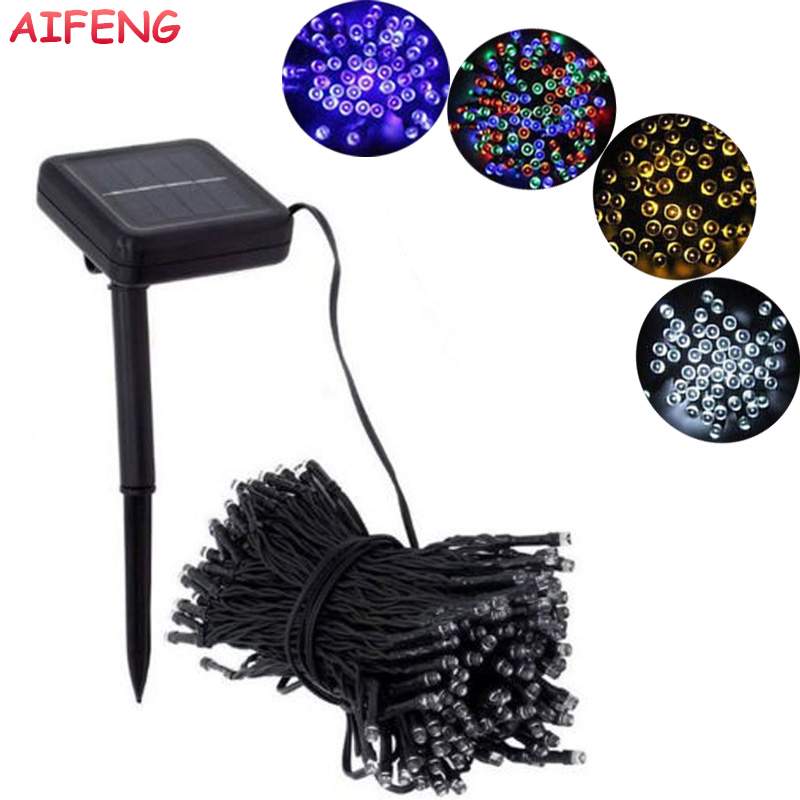 AIFENG Light String 12M 100Leds Solar Powered Led Garland Waterproof Steady On Flash Light Strings For Garden Holiday Decoration