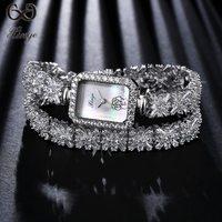High Quality XINGER 2017 Luxury Fashion Silver Watches Women Wristwatch Ladies Zircon Watch Bracelet Wristwatches