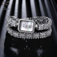 Xinge Brand High Quality 2018 Luxury Fashion Silver Watches Women Rectangle Zircon Bracelet Ladies Wristwatches Dress