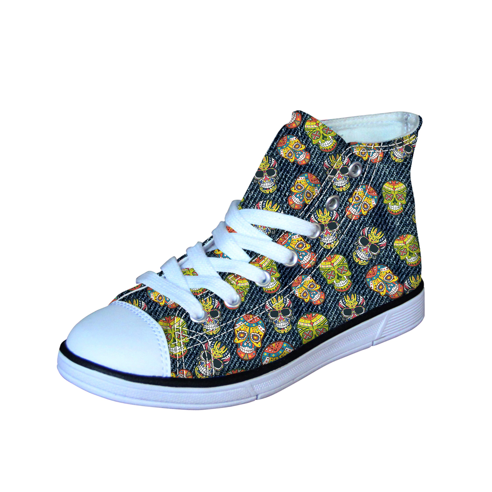 Candy Skull Men Canvas Shoes School Boys Vulcanize Shoes Teenager High Top Flats Sneakers Loafers Punk Style