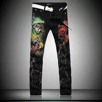 New Cool Stylish Fashion Jeans Men Skinny Black Slim Fit Mens Print Jeans Pant Designers Gothic