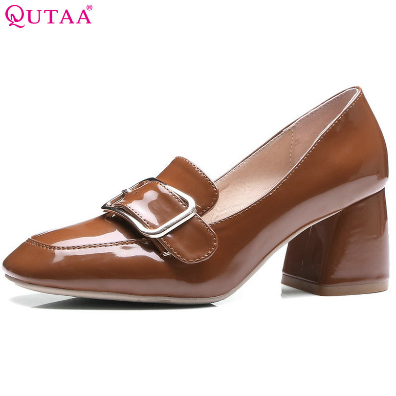 QUTAA 2017 Women Pumps Square High Heel PU Leather Western Style Round Toe Summer Buckle Ladies Wedding Shoes Size 34-42 стоимость
